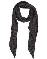 Saint Laurent Polka Dot Silk Crepe De Chine Long Scarf