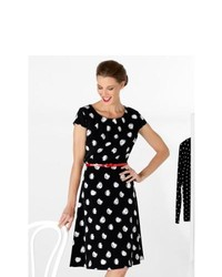 M co ladies monochrome polka dot spot pattern cap sleeve skater belted tea dress black 12 medium 119756