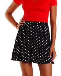Charlotte Russe Button Up Polka Dot Skater Skirt