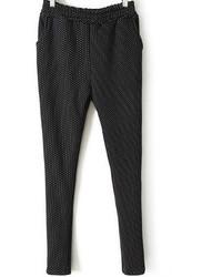 Pockets Polka Dot Slim Black Pant