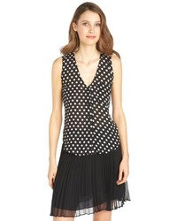 RD Style Black And White Polka Dot Button Front Cross Back Top