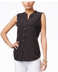 Polka dot sleeveless utility shirt medium 608802