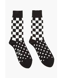 Comme des garons homme plus black jersey checker dot patterned socks medium 26559