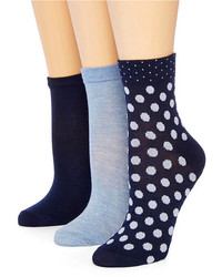 jcpenney Mixit Mixit 3 Pk Low Cut Polka Dot Crew Socks