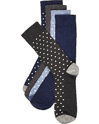 River Island Navy And Grey Polka Dot Sock 5 Pack