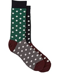 Paul Smith Polka Dot Cotton Blend Mid Calf Socks