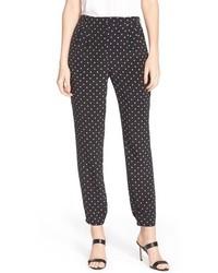 Black and White Polka Dot Tapered Pants