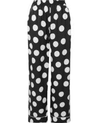 Dolce & Gabbana Polka Dot Satin Wide Leg Pants