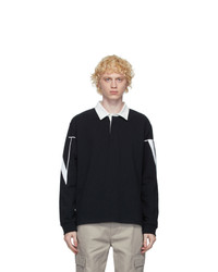 Valentino Black And White Vltn Macro Long Sleeve Polo