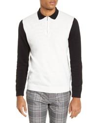 Topman Colorblock Long Sleeve Zip Polo