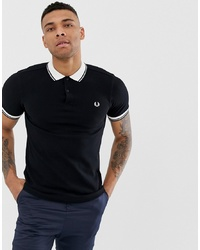 Fred Perry Contrast Rib Collar Pique Polo In Black