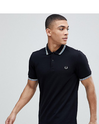 Fred Perry Twin Tipped Logo Polo Shirt In Black At Asos