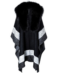 Roberto Cavalli Colorblock Poncho With Fox Fur Collar