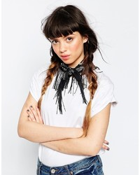 Asos Collection Mono Print Bandana Neckerchief With Black Fringe
