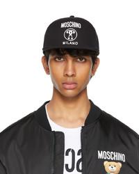 Moschino Black Canvas Flat Cap