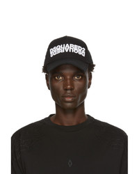 DSQUARED2 Black Embroidered Cargo Baseball Cap