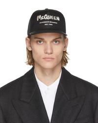 Alexander McQueen Black Graffiti Baseball Cap