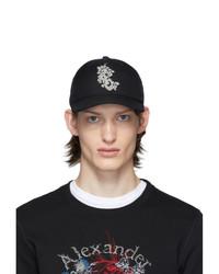 Alexander McQueen Black Ivy Monogram Cap