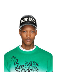 Kenzo Black Leather Logo Cap
