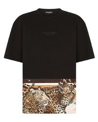 Dolce & Gabbana Leopard Hem Logo T Shirt