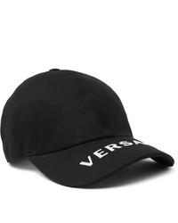 Versace Logo Embroidered Cotton Twill Baseball Cap