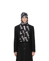 Palm Angels Black And White Logo Beanie And Scarf Set