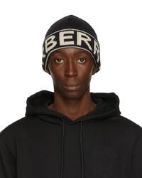 Burberry Black Cashmere Intarsia Logo Beanie