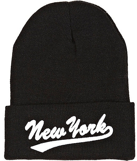River Island Black New York Embroidery Beanie Hat