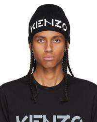 Kenzo Black Printed Distressed Logo Beanie