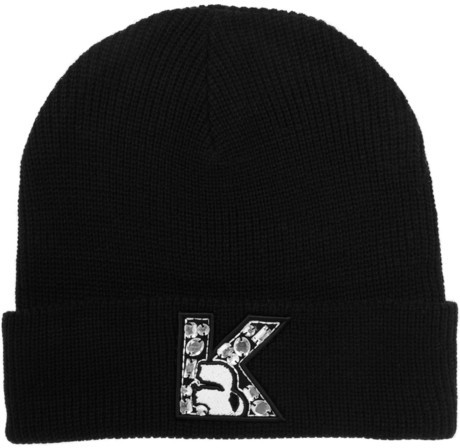 Karl Lagerfeld Crystal Embellished Knitted Beanie