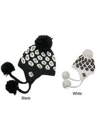 Leisureland Hand Crocheted Leopard Acrylic Beanie Hat