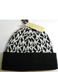 Michael Kors Michl Kors Classic Mklogo Beanie Hat  Blackwhite  Msrp 42