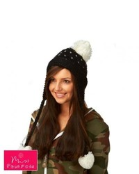 Miss Pompom Spotty Tibetan Beanie Blackcream