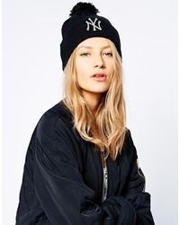 New Era Ny Bobble Beanie Hat Black And Silver