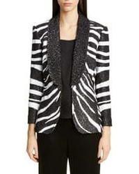 St. John Collection Sequin Zebra Jacquard Knit Jacket