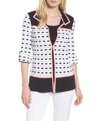 Ming Wang Textured Colorblock Check Jacket