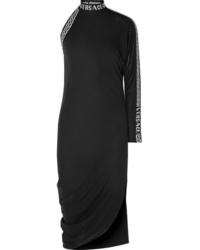 Versace One Sleeve Intarsia Jersey Midi Dress