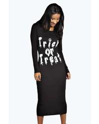 Boohoo Riley Trick Or Treat Long Sleeve Midi Dress