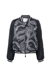 Black and White Print Bomber Jacket