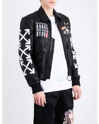 Off-White Co Virgil Abloh Aviator Leather Bomber Jacket