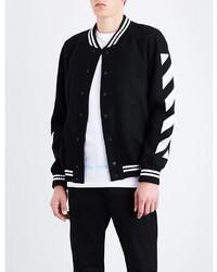Off-White Co Virgil Abloh Striped Wool Blend Varsity Jacket