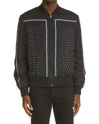 Saint Laurent Stripe Dot Silk Bomber Jacket
