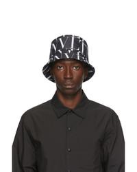 Valentino Black And White Garavani Vltn Bucket Hat