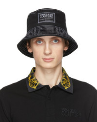VERSACE JEANS COUTURE Black White Twill Logo Bucket Hat