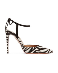 Aquazzura Candance Med Zebra Print Calf Hair Pumps