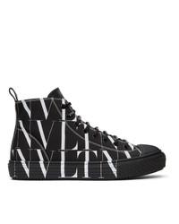 Valentino Black And White Garavani Vltn High Top Sneakers