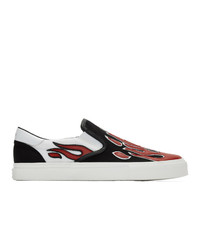 Amiri Black And White Flame Slip On Sneakers