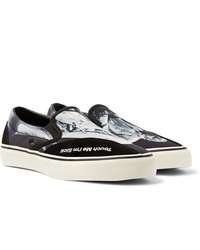TAKAHIROMIYASHITA TheSoloist. Clearweather Dodds Suede Trimmed Printed Canvas Slip On Sneakers