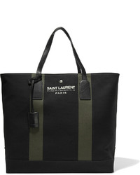 Saint Laurent Beach Leather Trimmed Canvas Tote Black