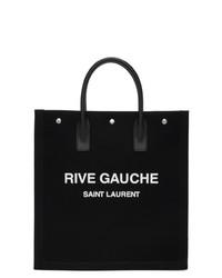 Saint Laurent Black And White Rive Gauche Shopping Tote